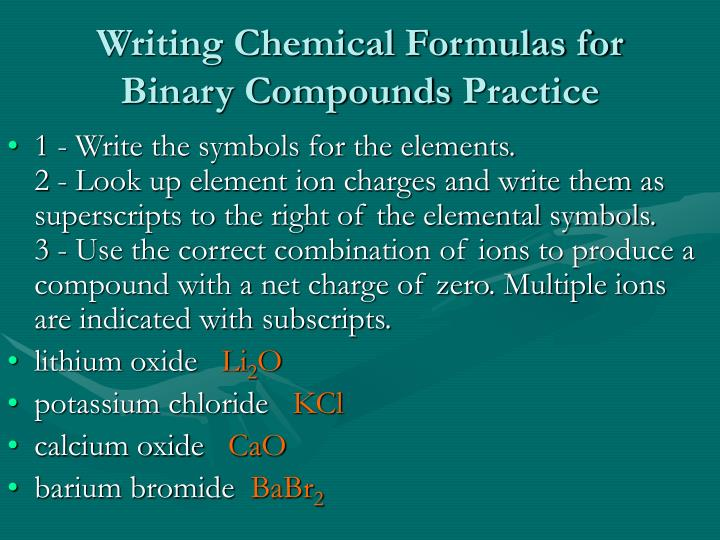 How to write chemical compound formulas