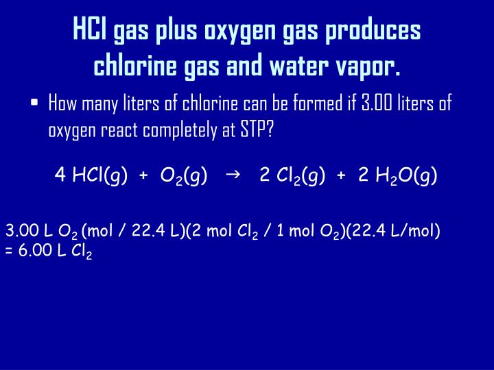 HCl gas plus oxygen gas produces chlorine gas and water vapor.