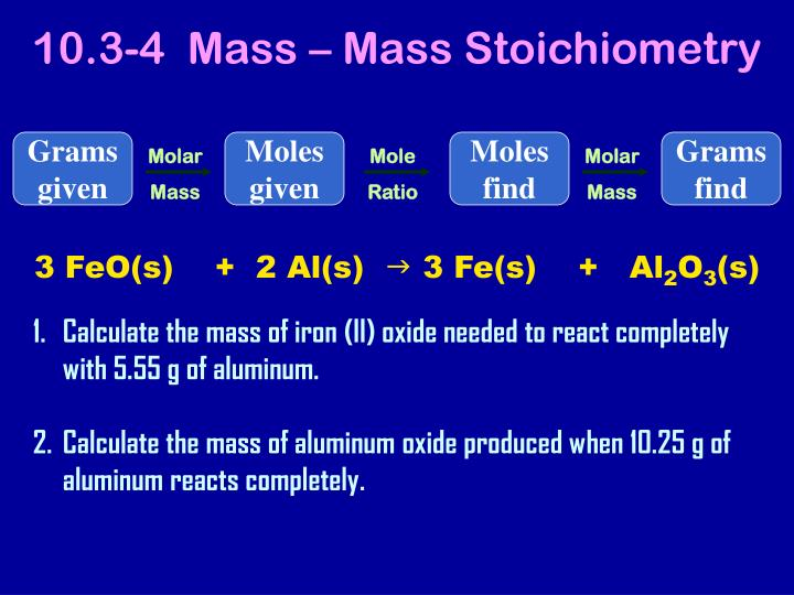 10.3-4  Mass – Mass Stoichiometry