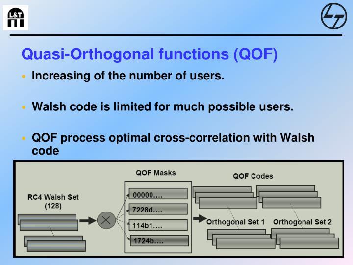 Quasi-Orthogonal functions (QOF)