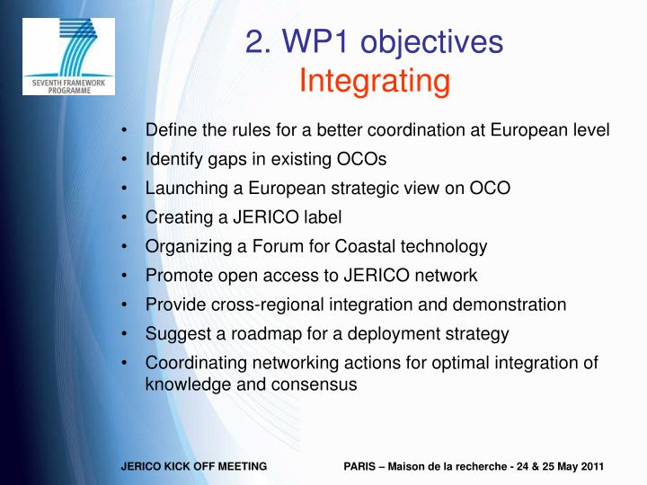 2. WP1 objectives