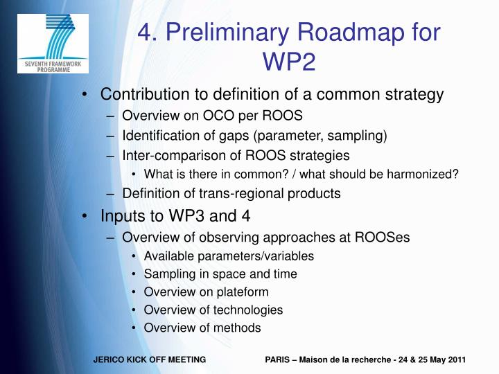 4. Preliminary Roadmap for WP2
