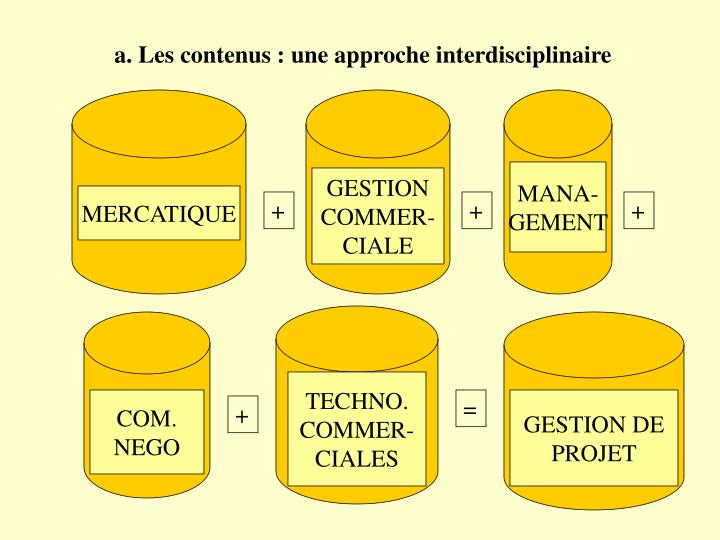 a. Les contenus : une approche interdisciplinaire