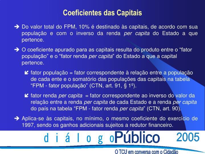 Do valor total do FPM, 10% é destinado às capitais, de acordo com sua população e com o inverso da renda