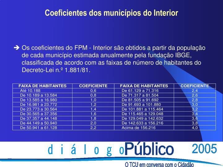 Os coeficientes do FPM - Interior são obtidos a partir da população de cada município estimada anualmente pela fundação IBGE, classificada de acordo com as faixas de número de habitantes do Decreto-Lei n.º 1.881/81.