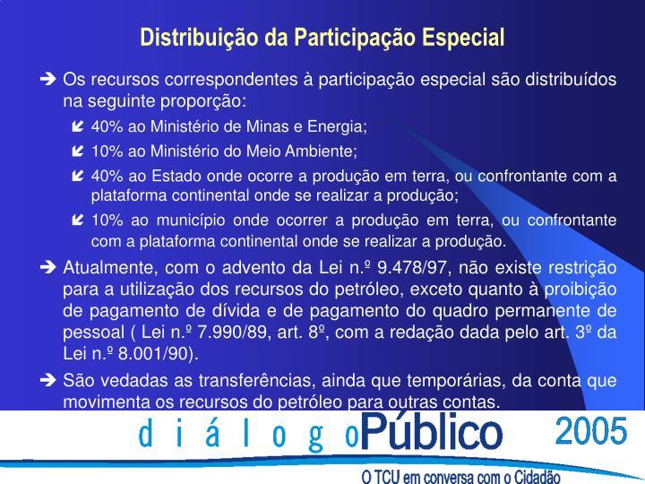 Os recursos correspondentes à participação especial são distribuídos na seguinte proporção: