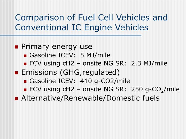 Comparison of Fuel Cell Vehicles and Conventional IC Engine Vehicles