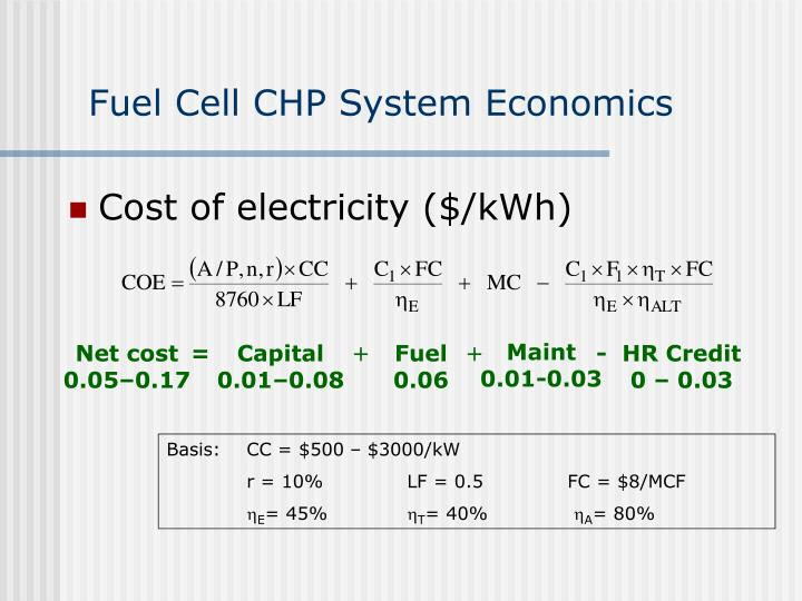 Fuel Cell CHP System Economics