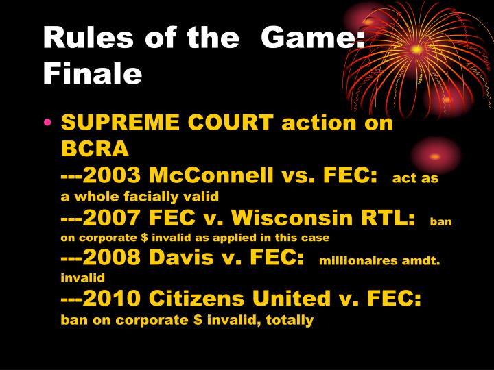 Rules of the  Game:  Finale