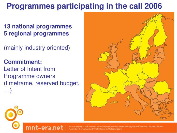 Programmes participating in the call 2006
