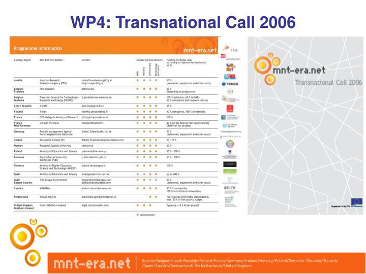 WP4: Transnational Call 2006