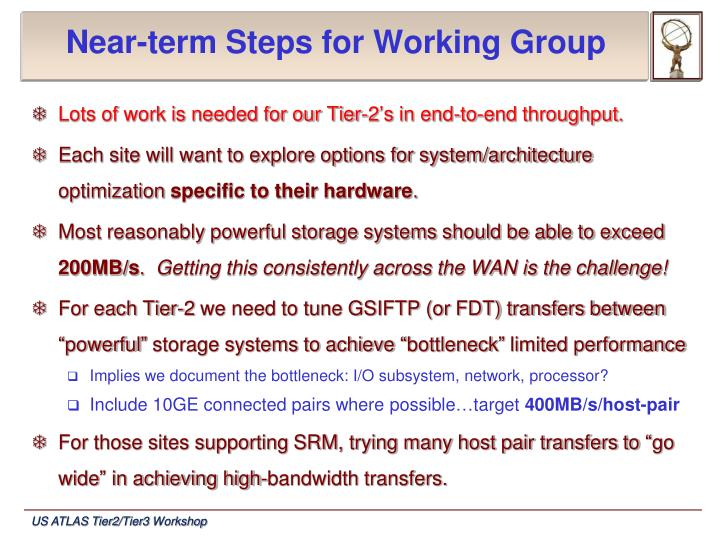 Near-term Steps for Working Group