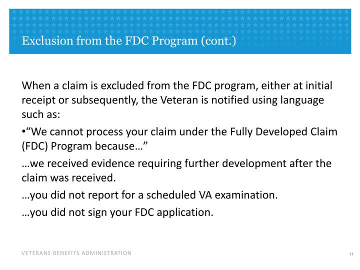 Exclusion from the FDC Program (cont.)
