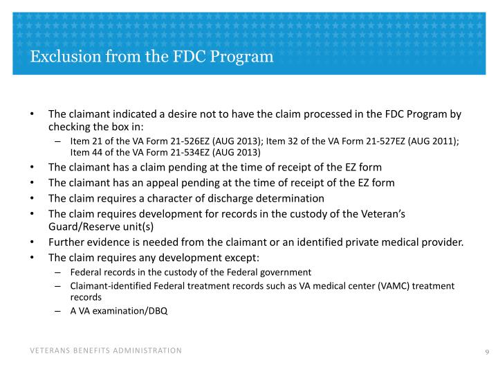Exclusion from the FDC Program