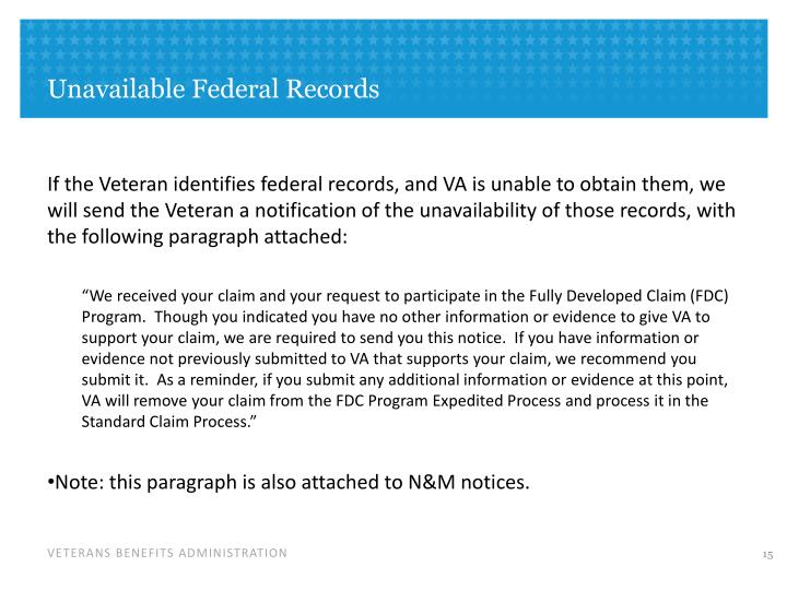 Unavailable Federal Records