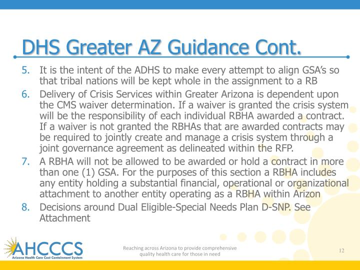 DHS Greater AZ Guidance Cont.
