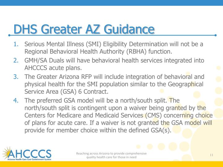 DHS Greater AZ Guidance
