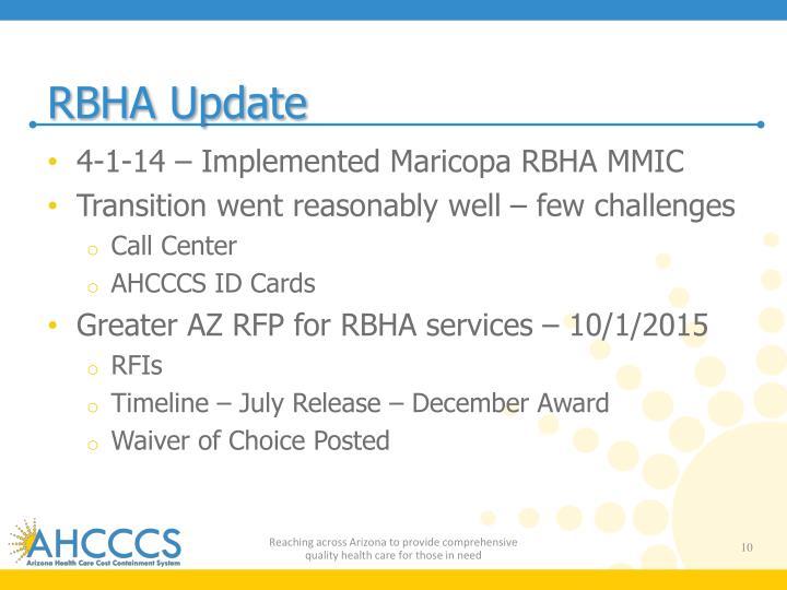 RBHA Update