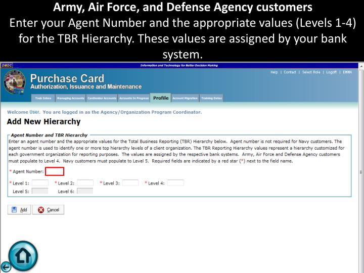 Army, Air Force, and Defense Agency customers