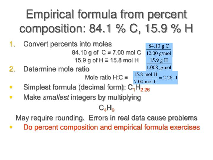 Empirical formula from percent composition: 84.1 % C, 15.9 % H