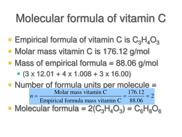 Molecular formula of vitamin C