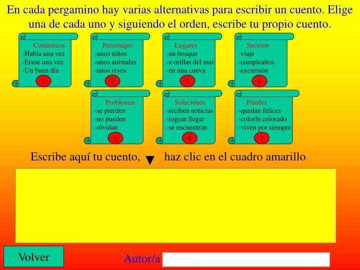 En cada pergamino hay varias alternativas para escribir un cuento. Elige una de cada uno y siguiendo el orden, escribe tu propio cuento.