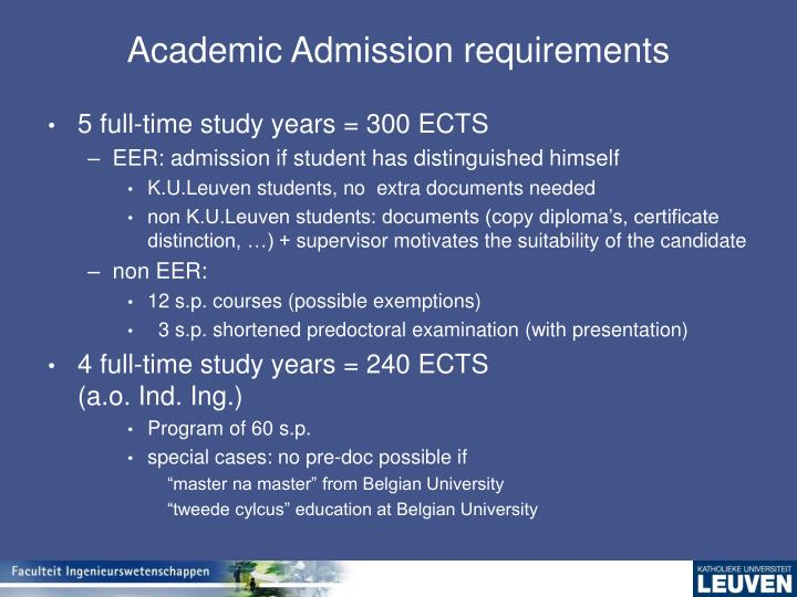 Academic Admission requirements
