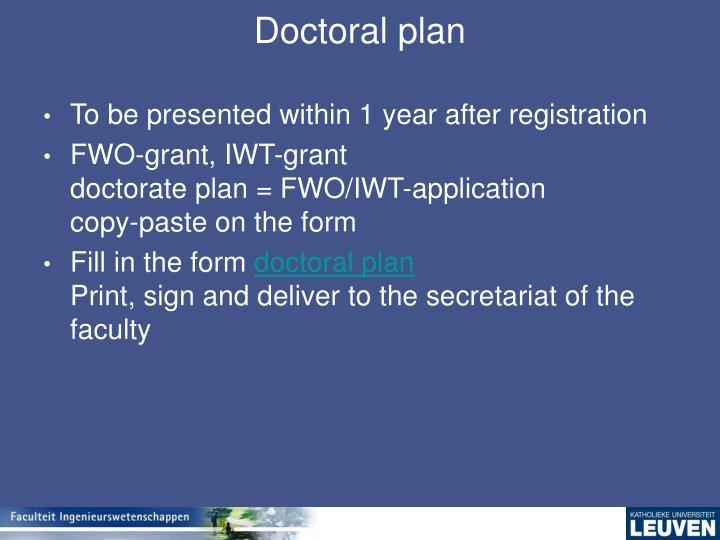 Doctoral plan