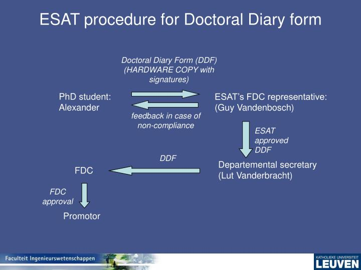 ESAT procedure for Doctoral Diary form