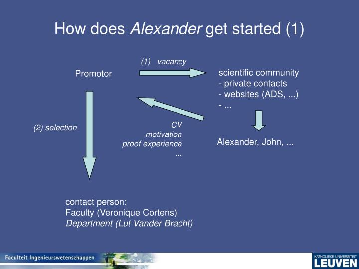 How does alexander get started 1