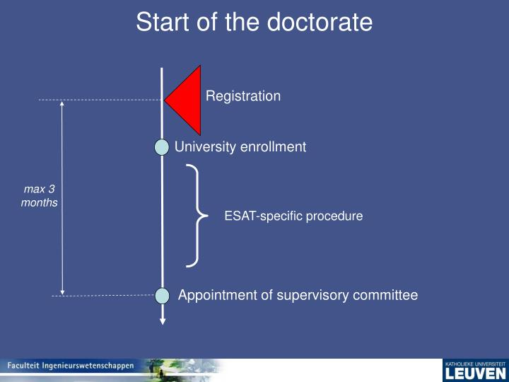 Start of the doctorate