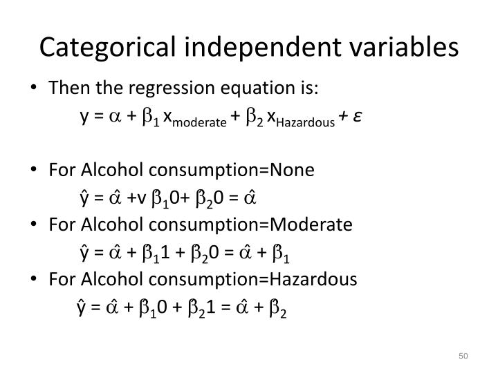 Categorical independent variables