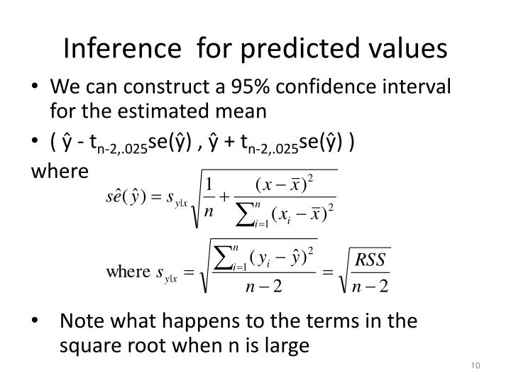 Inference  for predicted values