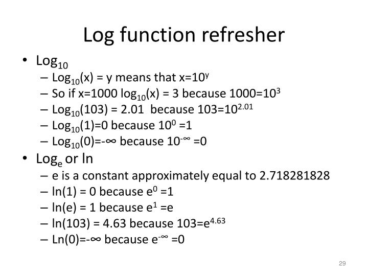 Log function refresher