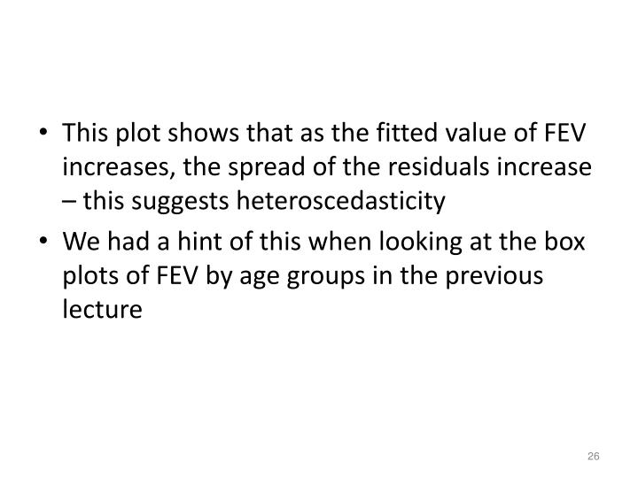 This plot shows that as the fitted value of FEV increases, the spread of the residuals increase – this suggests heteroscedasticity