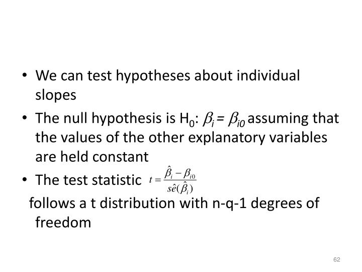 We can test hypotheses about individual slopes