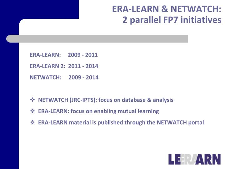 Era learn netwatch 2 parallel fp7 initiatives