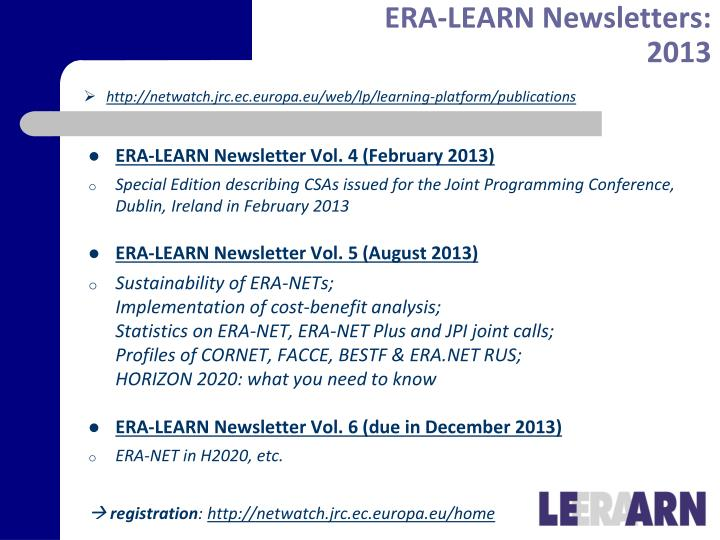 ERA-LEARN Newsletter Vol. 4 (February 2013)