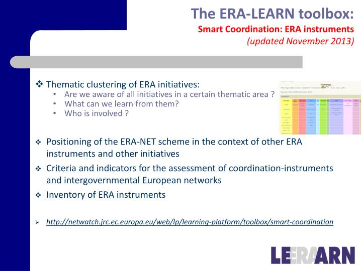 The ERA-LEARN toolbox: