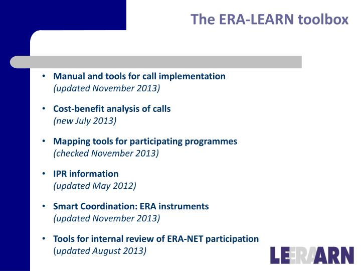 The ERA-LEARN toolbox