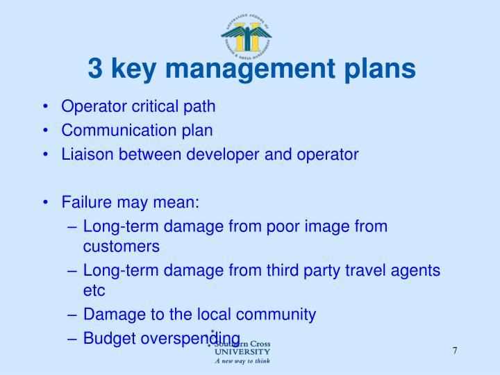 3 key management plans