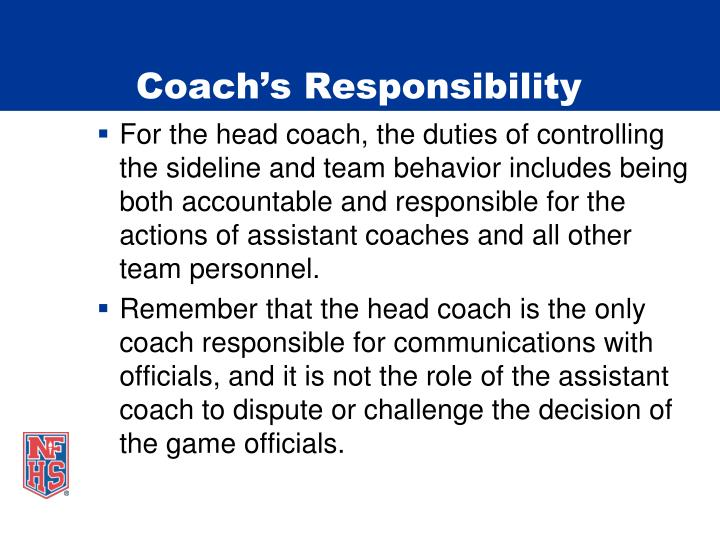 Coach's Responsibility