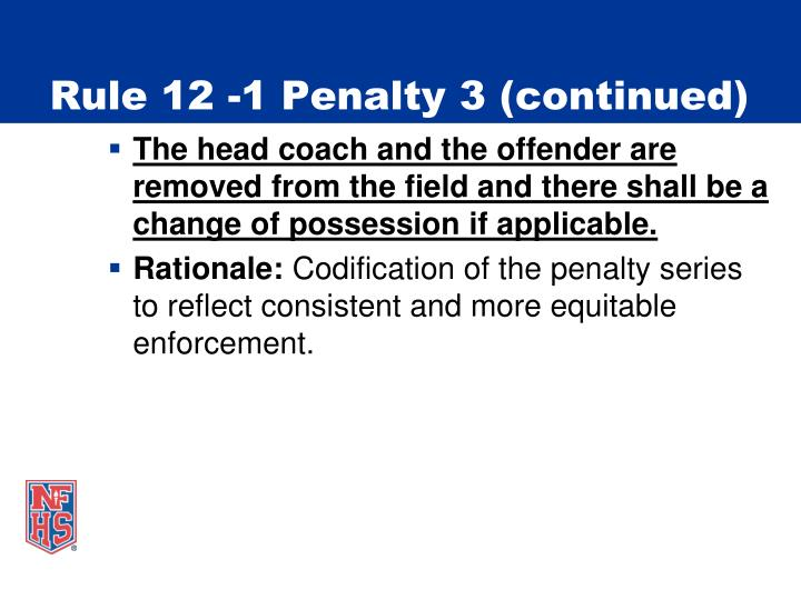 Rule 12 -1 Penalty 3 (continued)