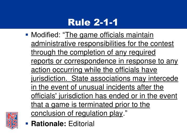 Rule 2-1-1