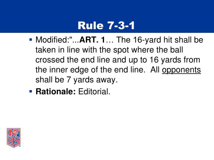 Rule 7-3-1