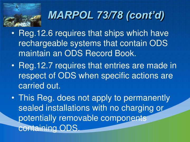 MARPOL 73/78 (cont'd)