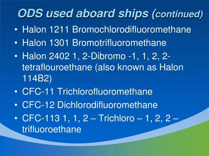 ODS used aboard ships (