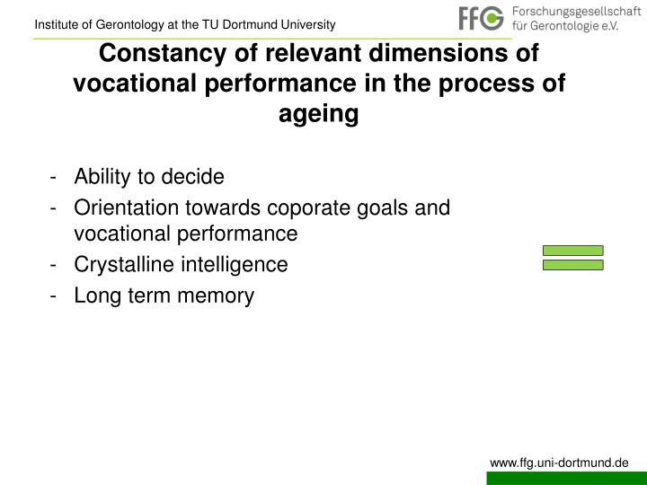 Constancy of relevant dimensions of vocational performance in the process of ageing