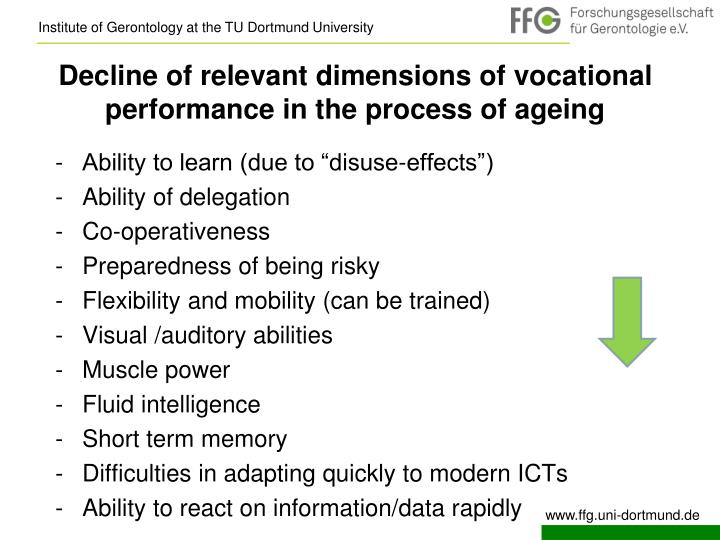 Decline of relevant dimensions of vocational performance in the process of ageing