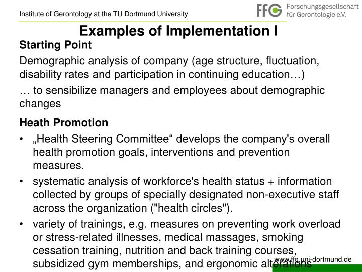 Examples of Implementation I